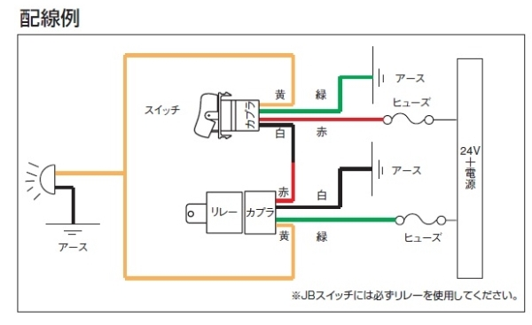 JB純正タイプスイッチ配線図
